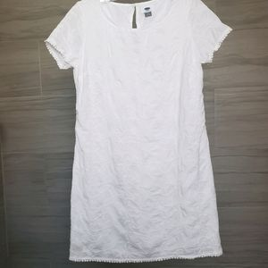 Old Navy white cotton embroidered shift dress